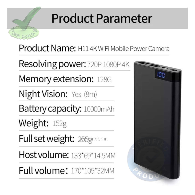 4k WiFi Spy Hidden Camera with Recorder in Power Bank