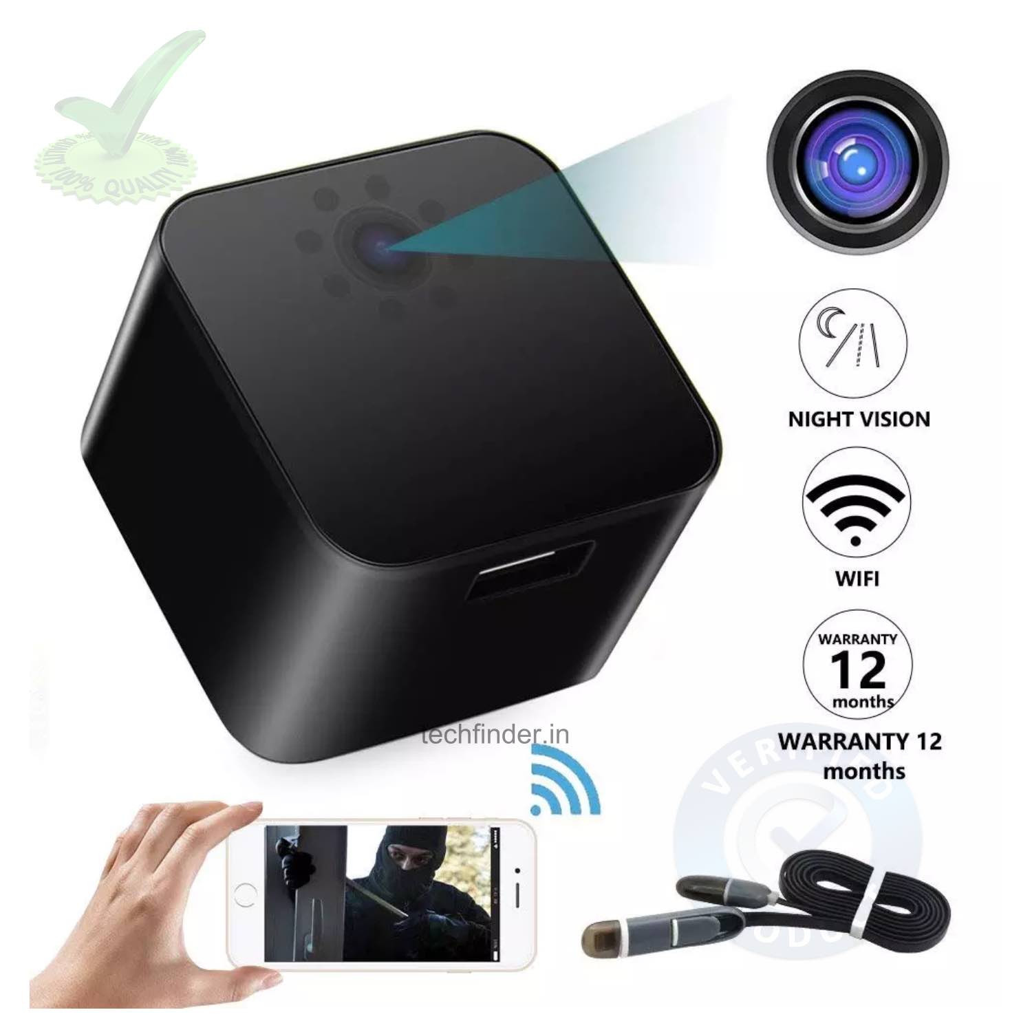 4k Wi-Fi Spy Hidden Camera with Recorder in USB Mobile Charger